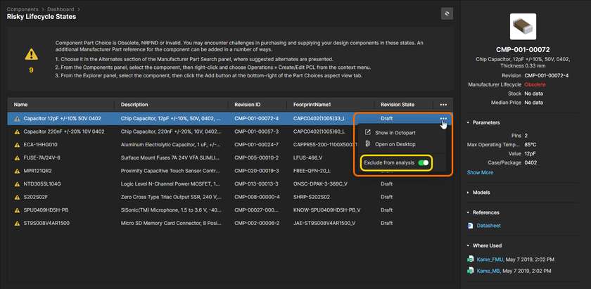 You can exclude a component from a health check analysis.