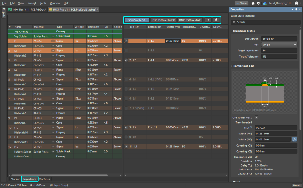 Impedance profiles are added and configured in the Impedance tab of the Layer Stack Manager