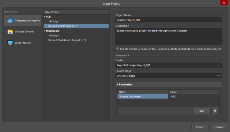 Setting up the Create Project dialog to create a new managed project from within Altium Designer. Note that the Advanced options will be appropriate by default.