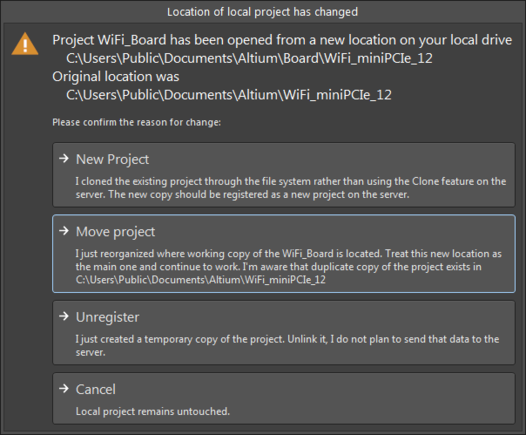 Options to get you back into sync if you have manually changed the location of your local working copy of a project.