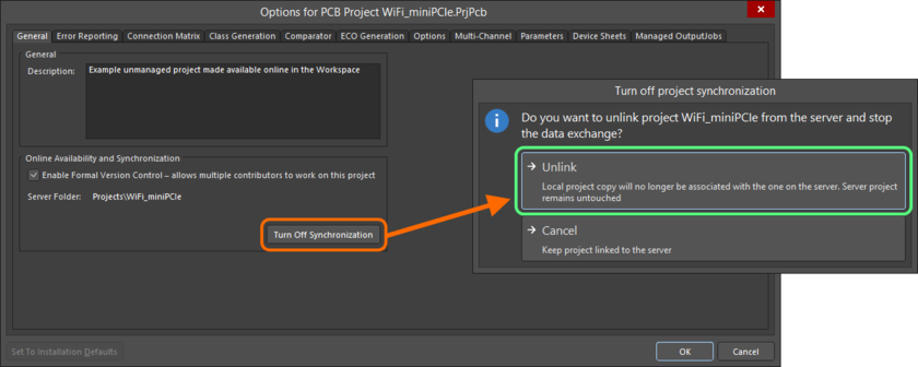 You can sever the connection between your local project and the incarnation of it made available in the Workspace.