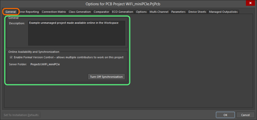 Options and controls relating to having made the project available online are presented on the General tab of the Project Options dialog.