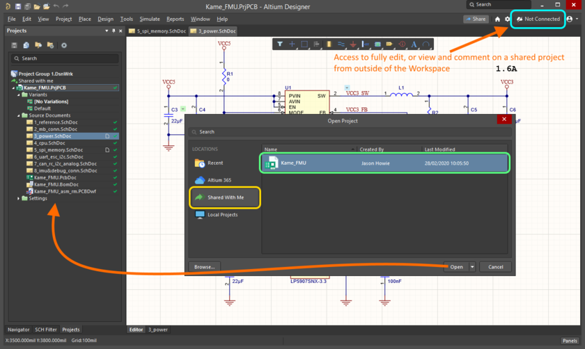 Choose which managed project to open, from within Altium Designer, from those currently shared with you as an external stakeholder. Note that access is made to such projects without having access to the Workspace.