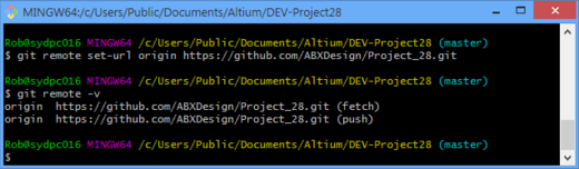 Changing the remote repository connection URL protocol and then confirming with the remote command.