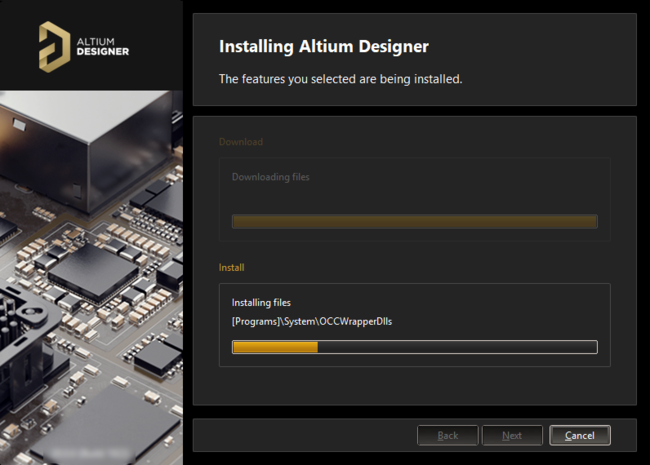 After the download is complete, the software is then installed.