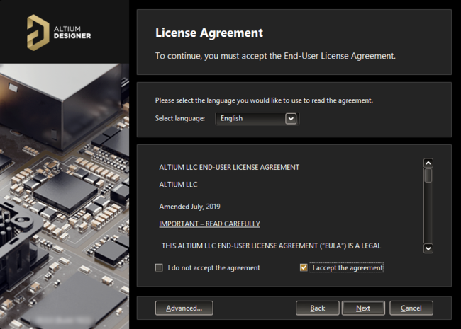 Read and accept Altium's End-User License Agreement.