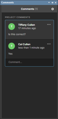 Two iterations of the Comments panel. On the left, the panel at it appears when signed into a self-managed server, and on the right as it appears when signed into a Workspace that has been shared with you by another user.