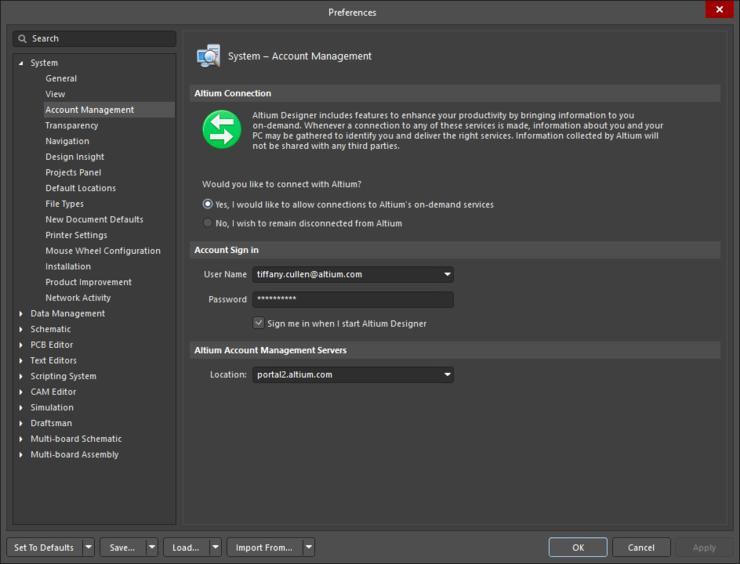 Управляйте подключением и учетными данными в настройках Altium Designer.