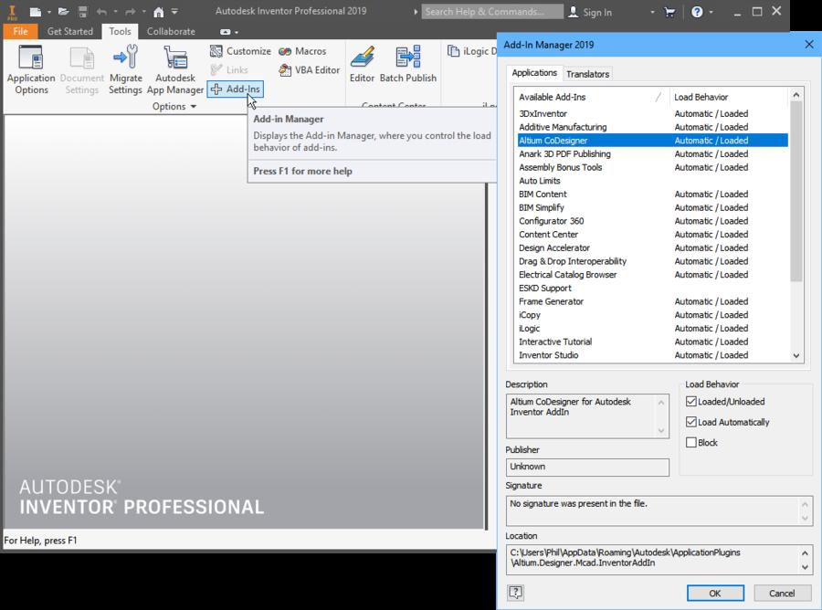В Autodesk Inventor включите надстройку Altium CoDesigner для доступа к панели CoDesigner