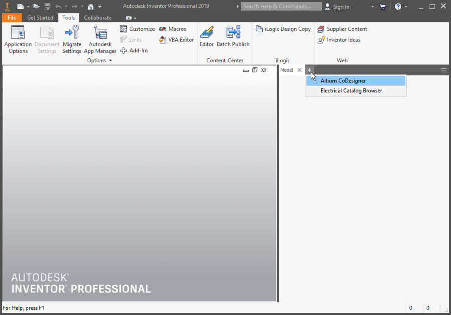 Панель CoDesigner можно отображать и скрывать с помощью меню +