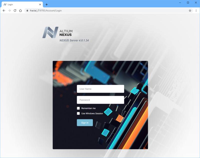 Вход в NEXUS Server через веб-интерфейс
