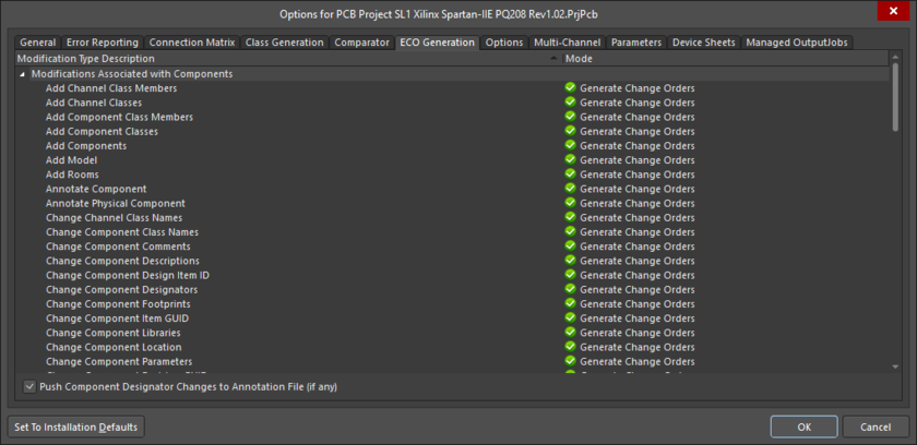 The ECO Generation tab of the Project Options dialog