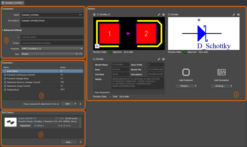 The Component Editor, when operating in its Single Component Editing mode, can be divided into four key regions.