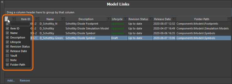 Hide or show model link data columns as required.