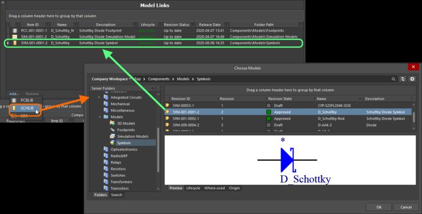 Dialog-based addition of model links.