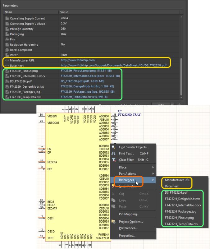 Доступ к даташитам из размещенного управляемого компонента на листе схемы.