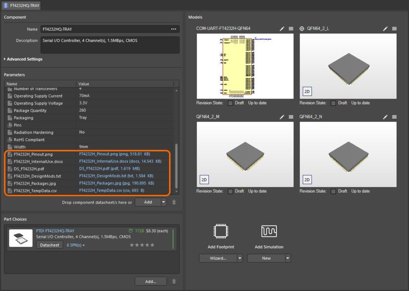 Создание ссылок на различные даташиты при редактировании компонента в редакторе Component Editor (режим Single Component Editing).