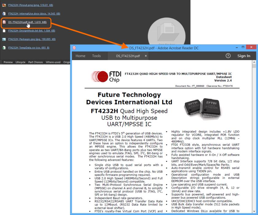 Используйте ссылку в названии даташита, чтобы быстро открыть его. В этом примере, даташит в формате PDF открывается в соответствующем внешнем приложении для просмотра файлов PDF.