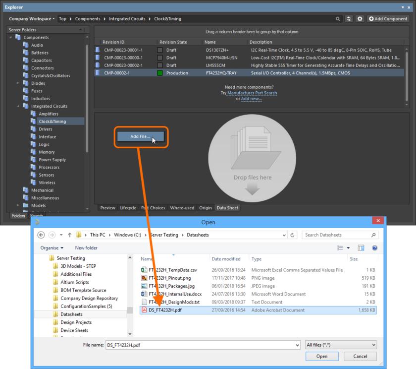 Прикрепление даташита к существующему компоненту на сервере с помощью традиционного подхода на основе диалогового окна.