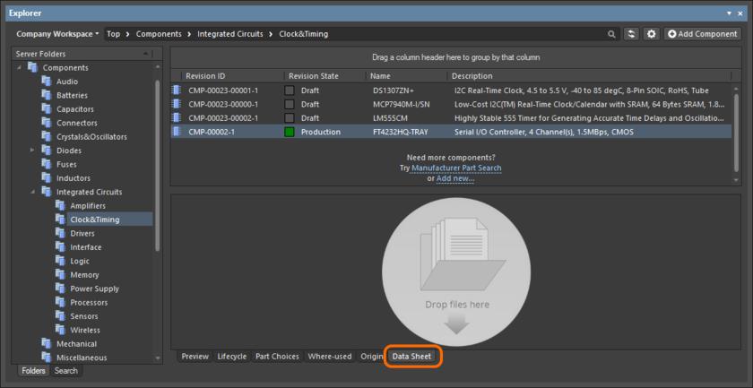 В панели Explorer, управление даташитами существующего объекта компонента осуществляется из вкладки аспектного вида Data Sheet этого объекта.