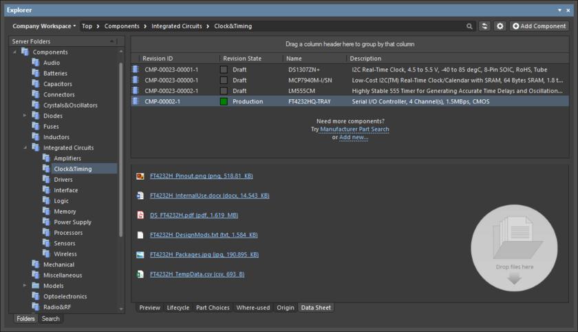 Пример прикрепленных к компоненту даташитов различных форматов.