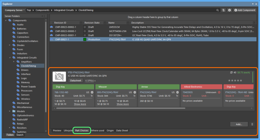 From the Explorer panel, the part choices list for a managed component can be seen on its Part Choices aspect view tab.