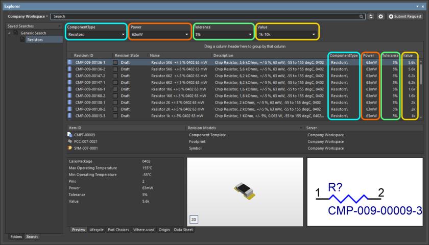 Пример результатов после применения сохраненного поиска Resistors. В поиске у четырех параметров включена опция Show Filter, поэтому для этих параметров представлены поля в интерфейсе поиска.
