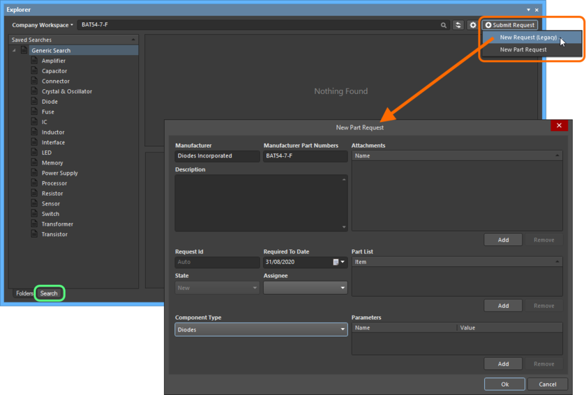 Adding a new part request directly from within Altium NEXUS, through the Explorer panel.