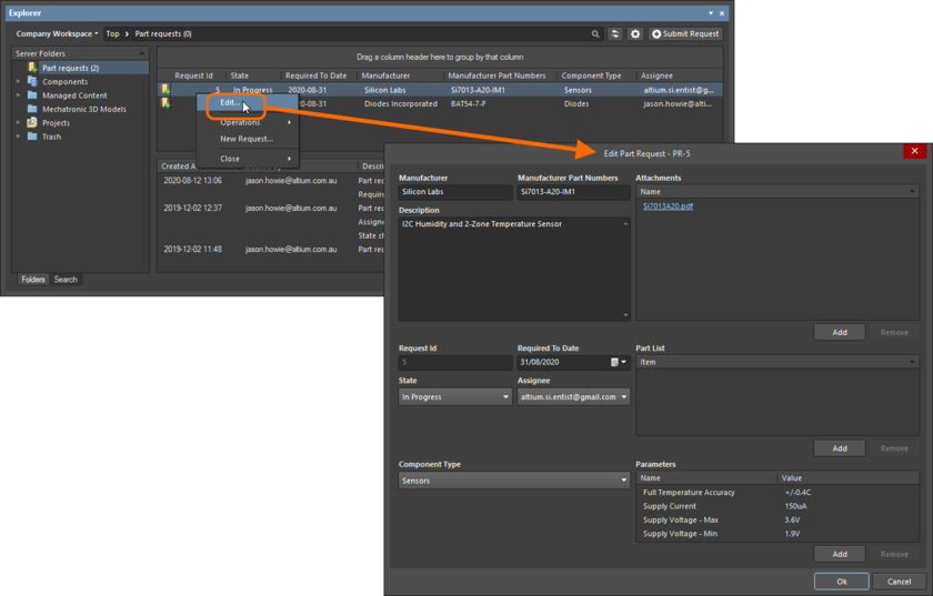 Accessing the dialog with which to edit an existing part request.
