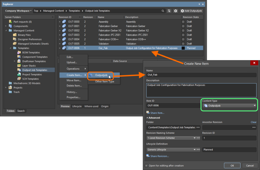 Creating an Outputjob Item within an Output Jobs folder - the correct Content Type is available on the context menu.