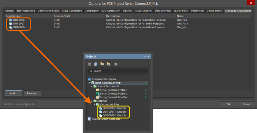 The added revisions of OutputJob Items will be reflected in the Projects panel.