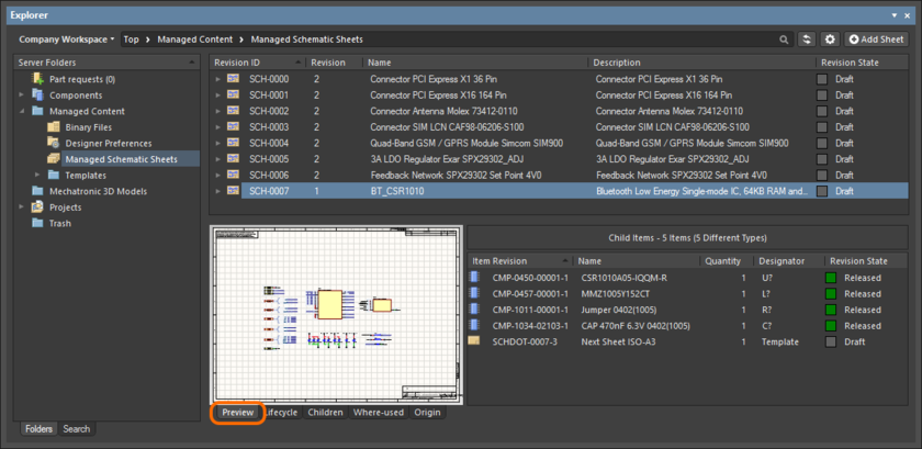 Browse the released revision of the Managed Schematic Sheet Item, back in the Explorer panel. Switch to the Preview aspect view tab to see a graphical representation, and a listing of the child Component Item Revisions.