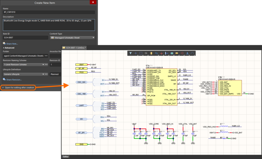 Example of editing the initial revision of a Managed Schematic Sheet Item, directly from the managed content server - the temporary Schematic Editor provides the document with which to define your schematic sheet.