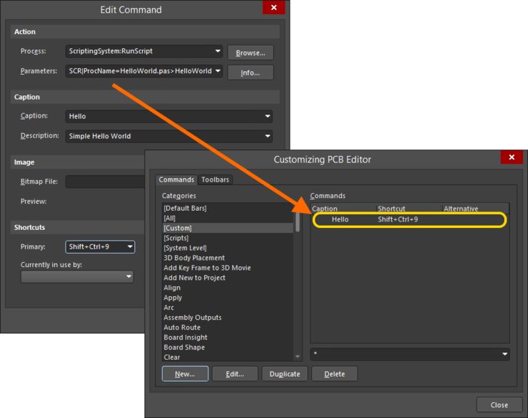 Paste the copied managed script parameters in the Parameters field, then proceed as you would when creating a command from a locally-sourced script.