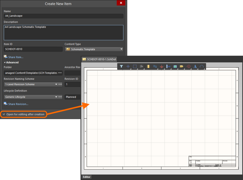 Example of editing the initial revision of a Schematic Template Item, directly from the managed content server - the temporary Schematic Editor provides the document with which to define your schematic template.