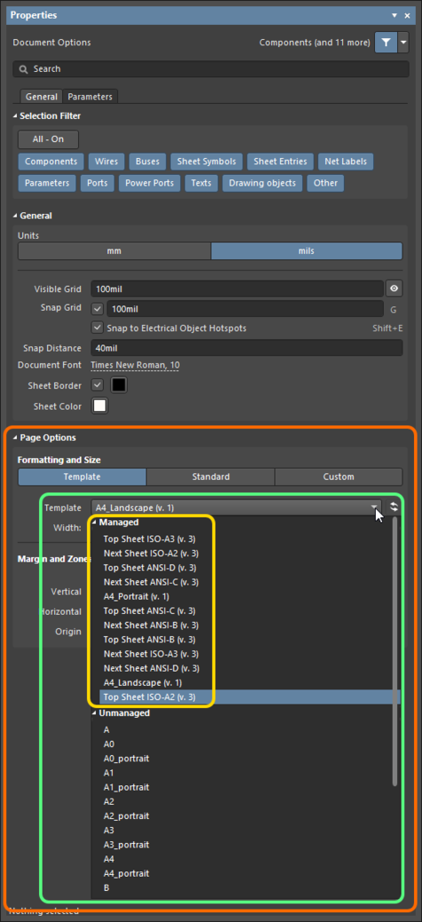 A chosen revision of a Schematic Template Item is reflected in the Properties panel, when browsing the Document Options for the active schematic sheet.