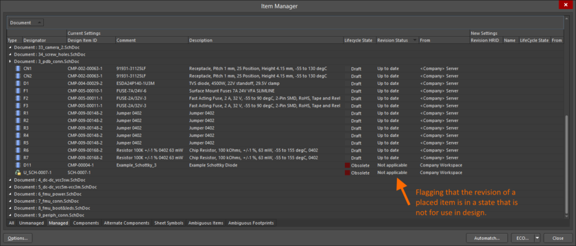 Reflecting inapplicability through the Item Manager dialog for a placed instance of a revision of a Component Item, and Managed Schematic Sheet Item.