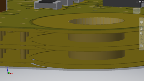 Via and Pad copper barrels are always Pushed from ECAD (left image), use the CoDesigner options described above in MCAD to control if they are Pulled into MCAD (right image).