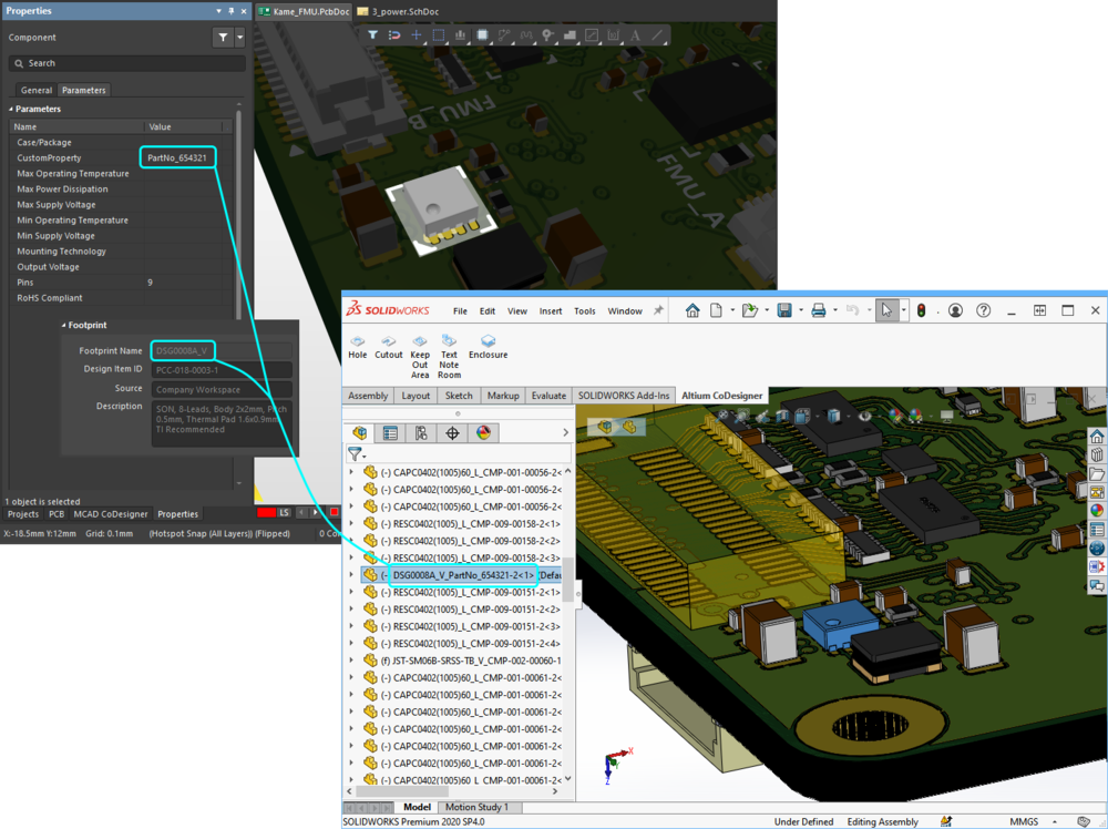 The MCAD model is named based on the naming option configured in the Workspace.