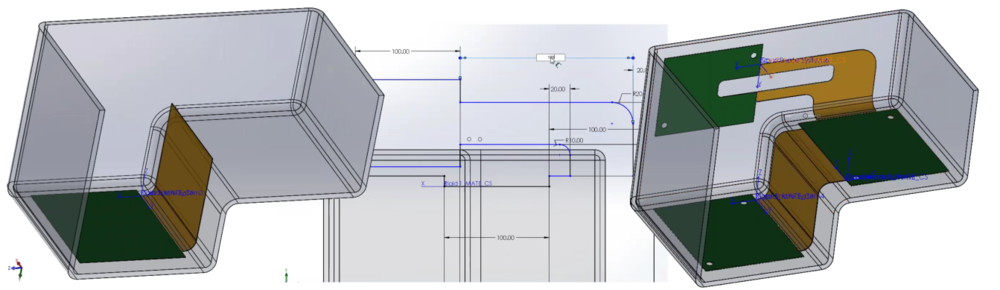 The board shape and bending definitions can now be defined and modified in SOLIDWORKS.