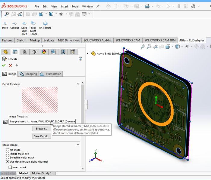 Decals are now stored in the SOLIDWORKS prt file, simplifying the process of working with SOLIDWORKS and a PDM system.