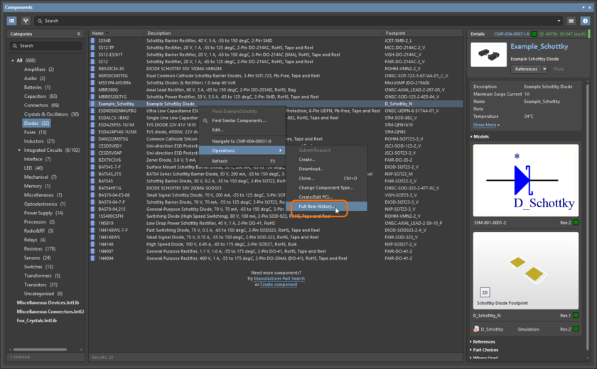 For a managed Component Item, access to the Item view can be made from the Components panel.