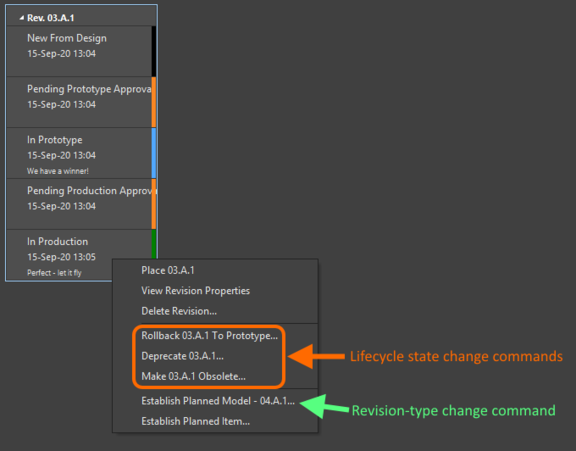 Right-click on a cell in the Item view to change the revision, or lifecycle state.