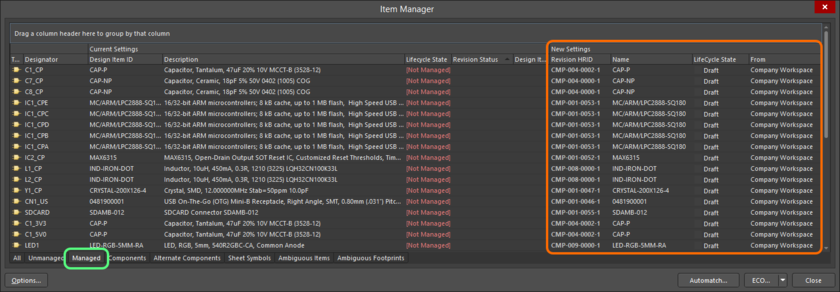 The pending changes to server-based managed Items are detailed in the dialog's New Settings region.