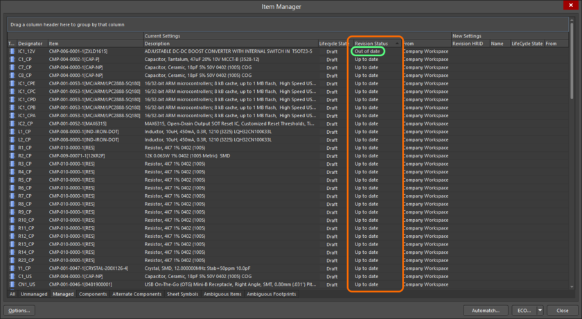 Note any components that have been detected as being Out of Date, select them and then right-click to perfom an Update.