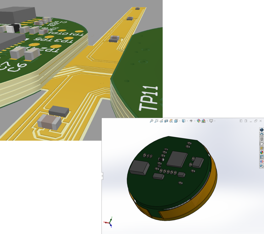 A board with two rigid regions connected by a flexible region in the ECAD PCB editor and in MCAD.
