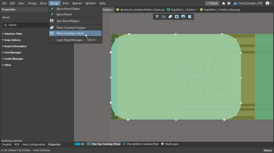 A section of custom coverlay has been placed and a cutout is about to be defined in it.