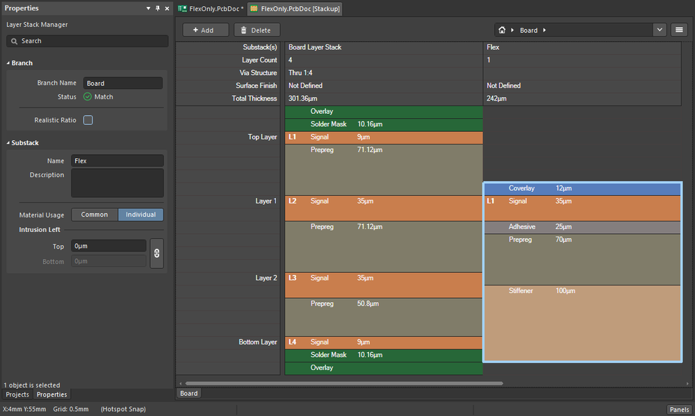 A flex-only board still requires a rigid substack to be defined in the Layer Stack Manager.