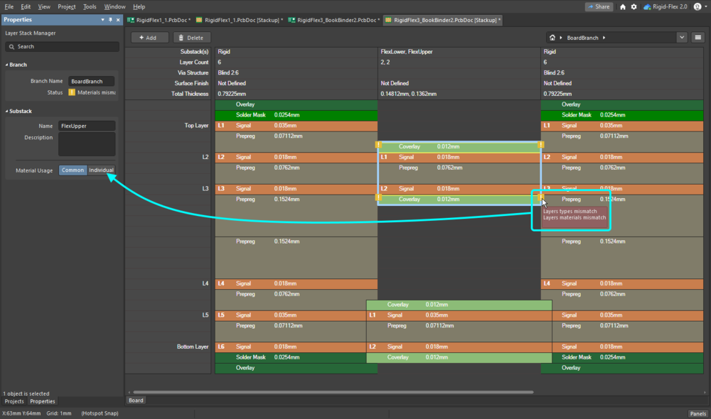 Enable the Individual Material Usage option to allow different adjacent layers.