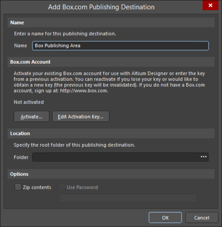 Define the connection to a Box.com publishing destination.